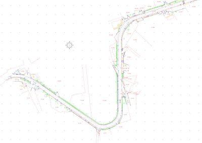 Plan topographique d'une route pour aménagement urbain
